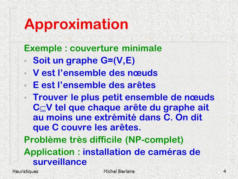 HeuristiquesMichel Bierlaire4 Approximation Exemple : couverture minimale Soit un graphe G=(V,E) V est lensemble des nœuds E est lensemble des arêtes