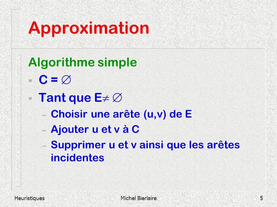 HeuristiquesMichel Bierlaire5 Approximation Algorithme simple C = Tant que E – Choisir une arête (u,v) de E – Ajouter u et v à C – Supprimer u et v ainsi que les arêtes incidentes
