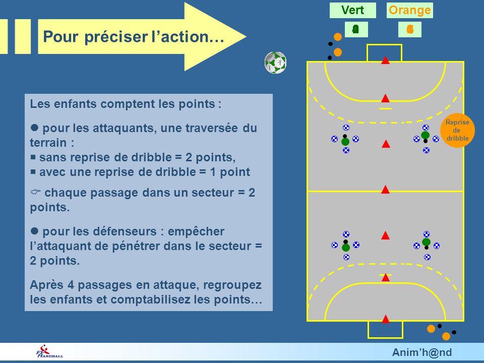 Animh@nd Les enfants comptent les points : pour les attaquants, une traversée du terrain : sans reprise de dribble = 2 points, avec une reprise de dribble = 1 point chaque passage dans un secteur = 2 points.