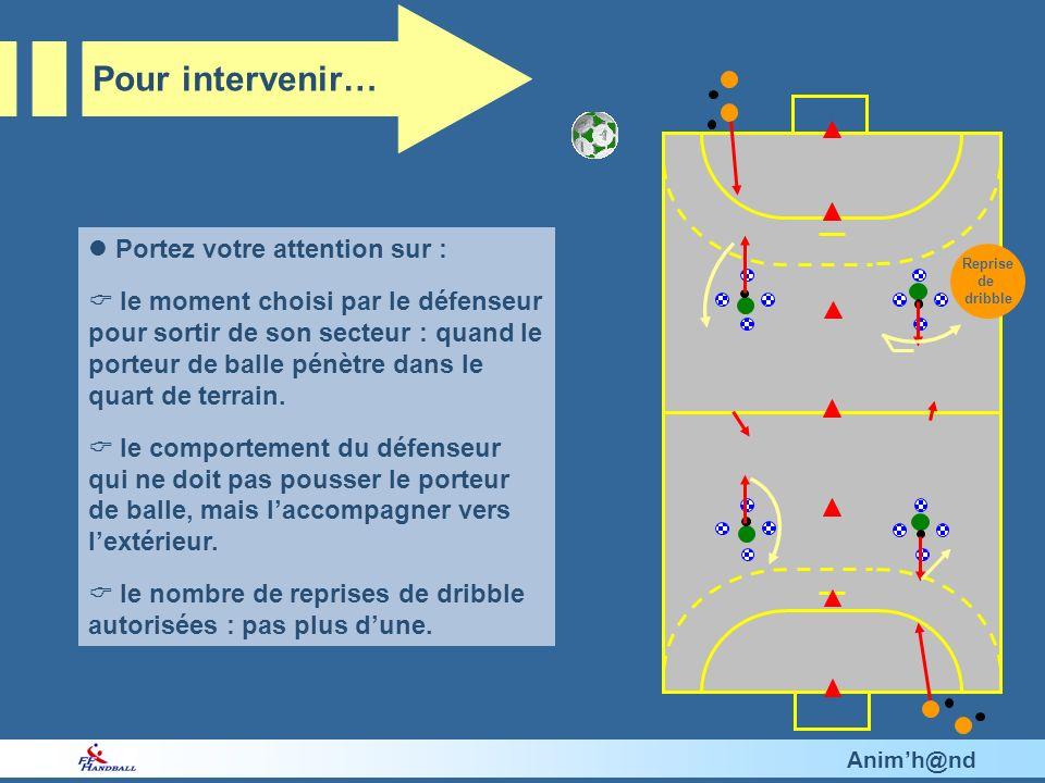 Animh@nd Portez votre attention sur : le moment choisi par le défenseur pour sortir de son secteur : quand le porteur de balle pénètre dans le quart de terrain.