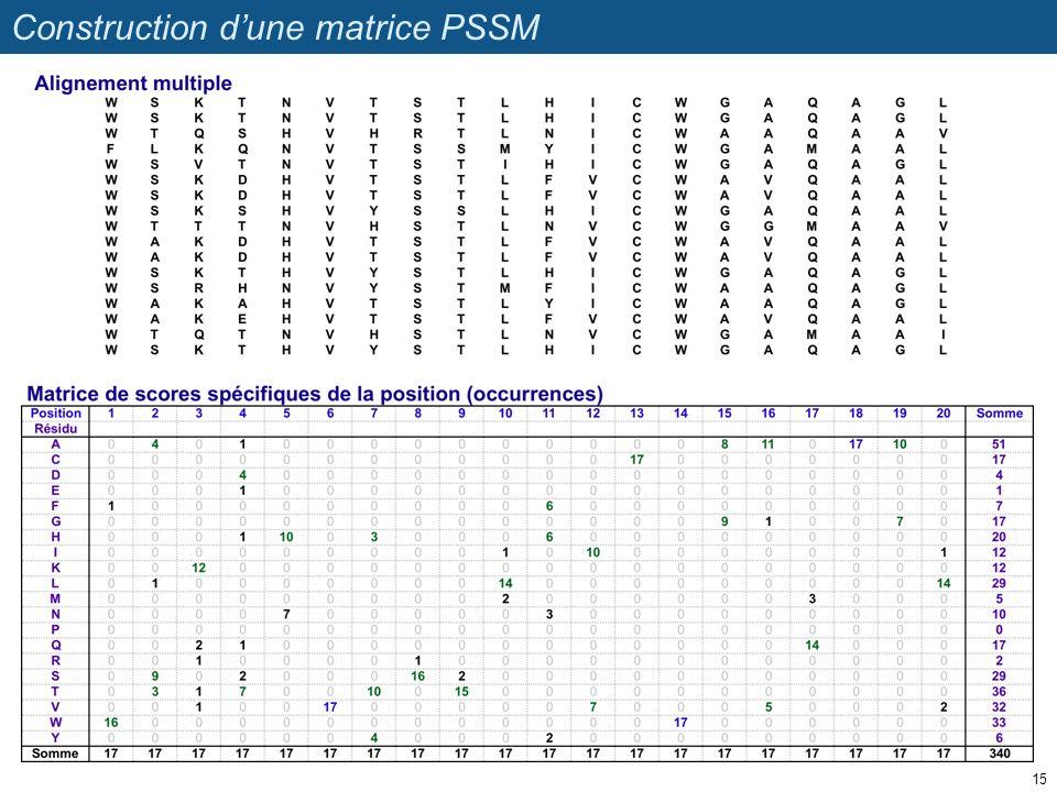 Construction dune matrice PSSM 15