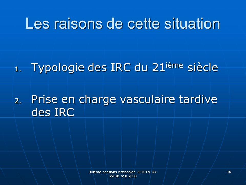 30ième sessions nationales AFIDTN 28- 29-30 mai 2008 10 Les raisons de cette situation 1. Typologie des IRC du 21 ième siècle 2. Prise en charge vascu