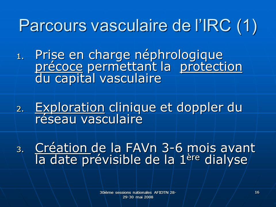 30ième sessions nationales AFIDTN 28- 29-30 mai 2008 16 Parcours vasculaire de lIRC (1) 1. Prise en charge néphrologique précoce permettant la protect
