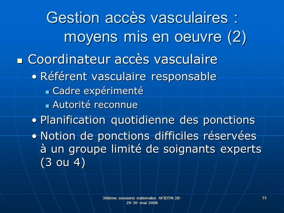 30ième sessions nationales AFIDTN 28- 29-30 mai 2008 31 Gestion accès vasculaires : moyens mis en oeuvre (2) Coordinateur accès vasculaire Coordinateu