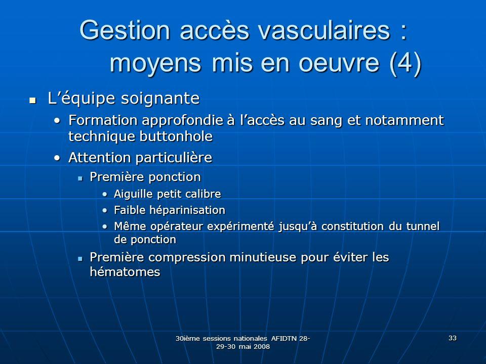 30ième sessions nationales AFIDTN 28- 29-30 mai 2008 33 Gestion accès vasculaires : moyens mis en oeuvre (4) Léquipe soignante Léquipe soignante Forma