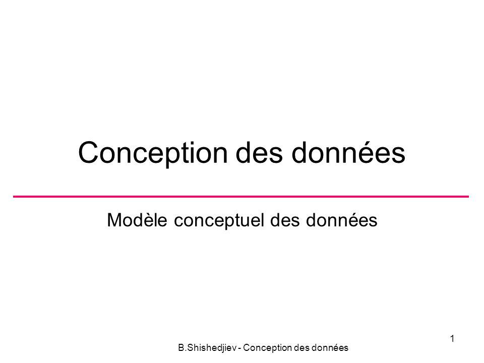 Conception des données Modèle conceptuel des données B.Shishedjiev - Conception des données 1