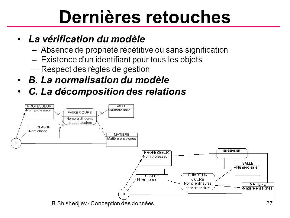 Dernières retouches La vérification du modèle –Absence de propriété répétitive ou sans signification –Existence d un identifiant pour tous les objets –Respect des règles de gestion B.