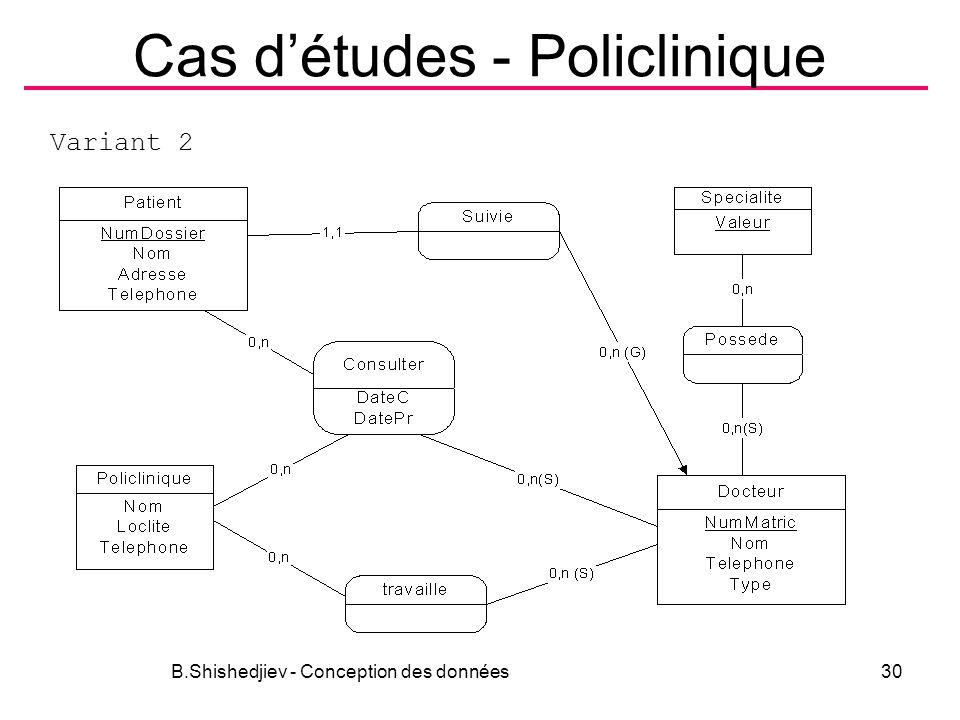 Cas détudes - Policlinique B.Shishedjiev - Conception des données30 Variant 2