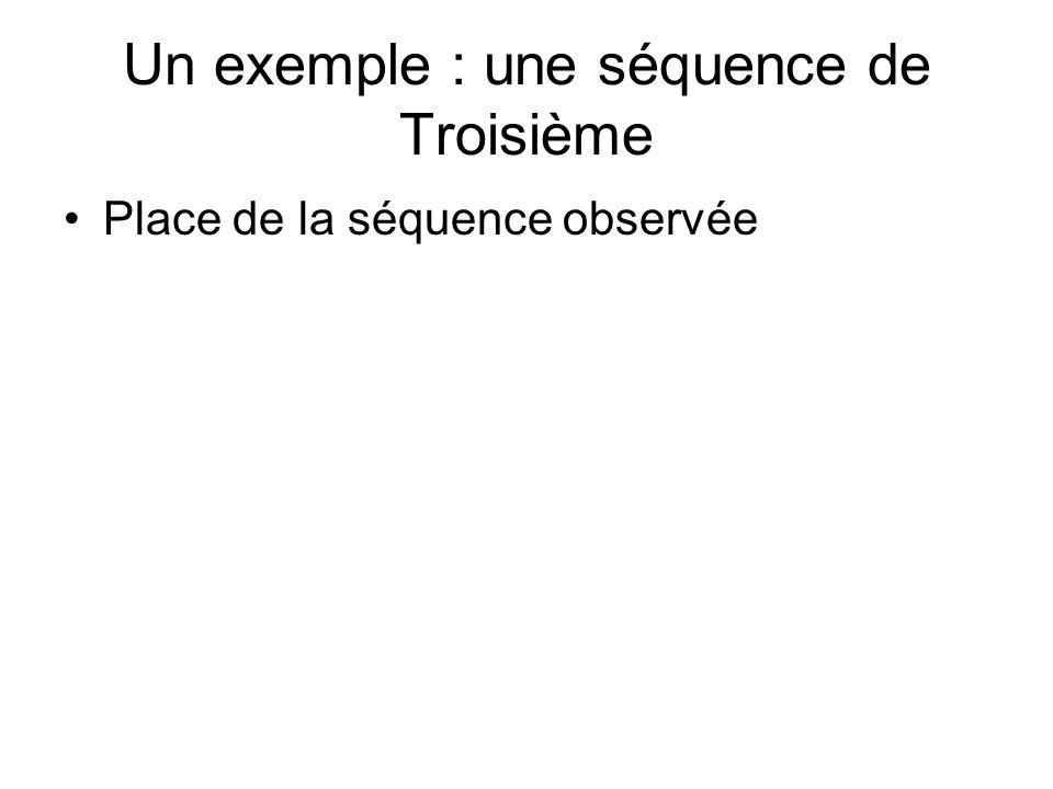Un exemple : une séquence de Troisième Place de la séquence observée