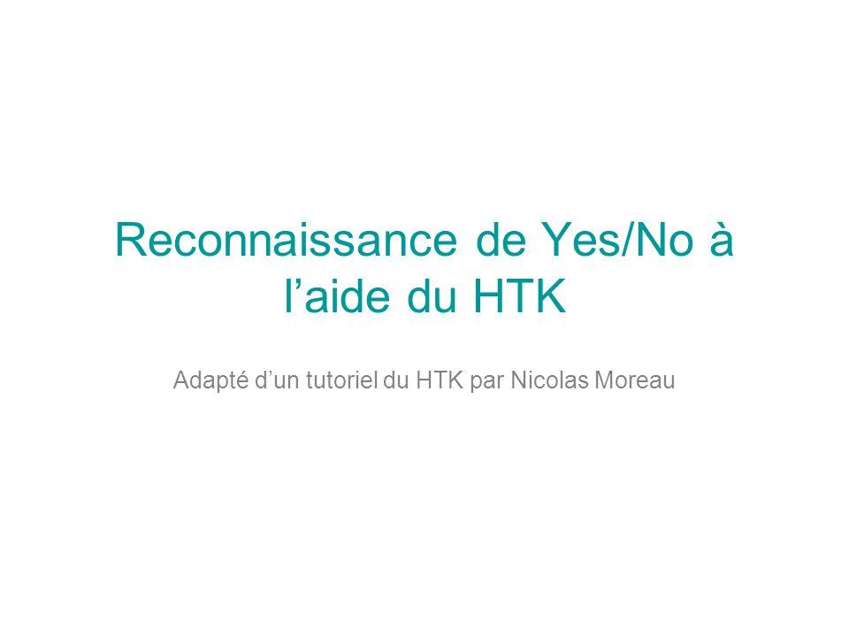 Reconnaissance de Yes/No à laide du HTK Adapté dun tutoriel du HTK par Nicolas Moreau
