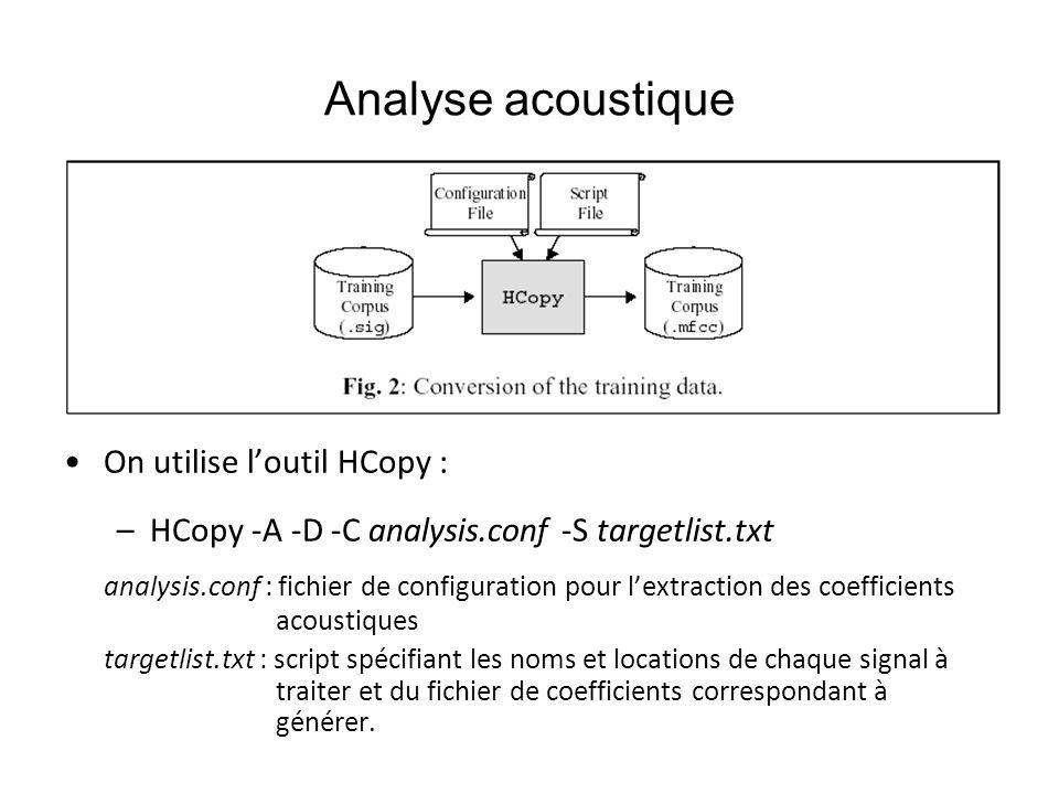 Analyse acoustique On utilise loutil HCopy : –HCopy -A -D -C analysis.conf -S targetlist.txt analysis.conf : fichier de configuration pour lextraction