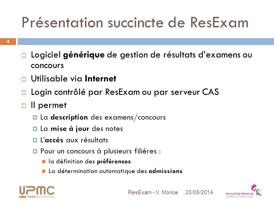 Présentation succincte de ResExam Logiciel générique de gestion de résultats dexamens ou concours Utilisable via Internet Login contrôlé par ResExam o