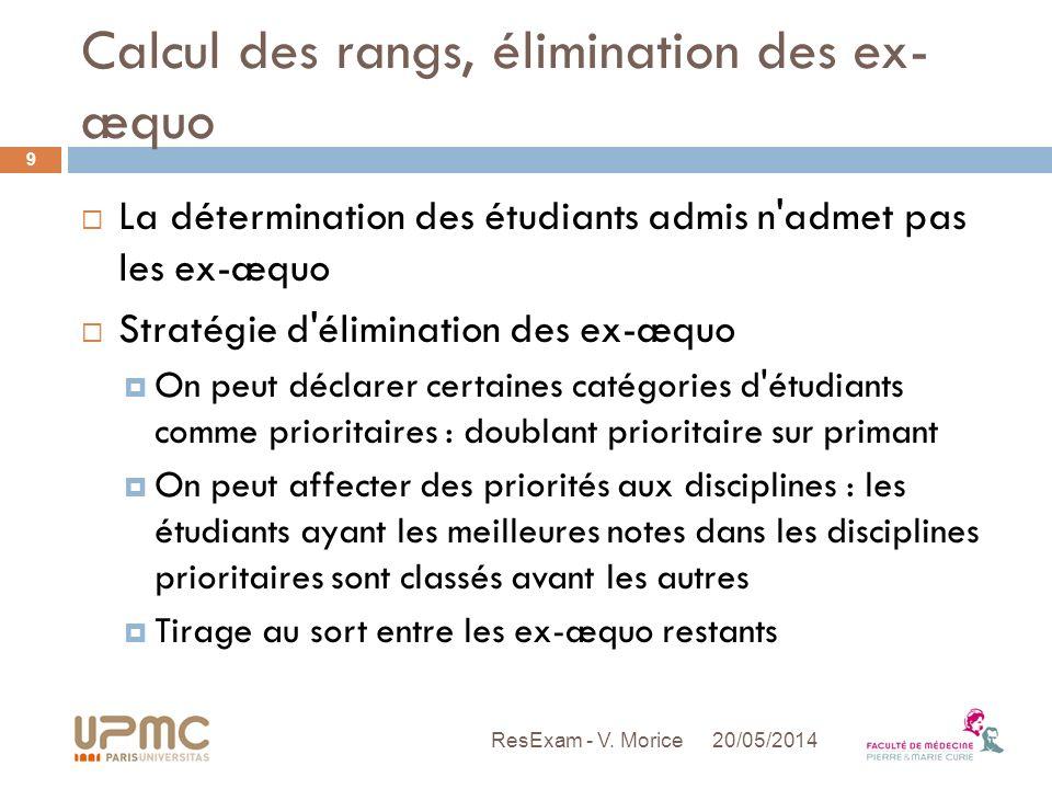 Calcul des rangs, élimination des ex- æquo La détermination des étudiants admis n'admet pas les ex-æquo Stratégie d'élimination des ex-æquo On peut dé