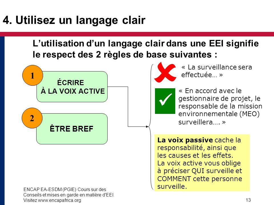 ENCAP EA-ESDM (PGIE) Cours sur des Conseils et mises en garde en matière d'EEI. Visitez www.encapafrica.org 13 4. Utilisez un langage clair Lutilisati