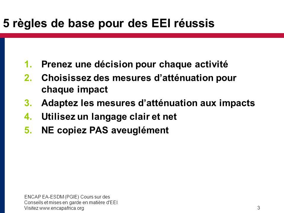 ENCAP EA-ESDM (PGIE) Cours sur des Conseils et mises en garde en matière d'EEI. Visitez www.encapafrica.org 3 5 règles de base pour des EEI réussis 1.