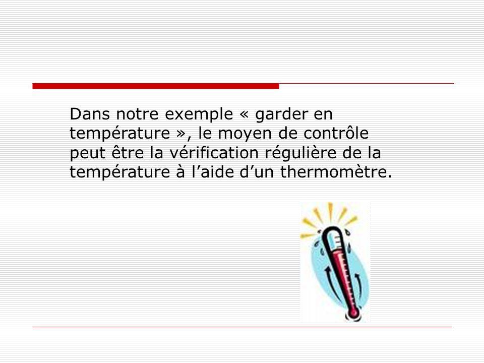 Dans notre exemple « garder en température », le moyen de contrôle peut être la vérification régulière de la température à laide dun thermomètre.