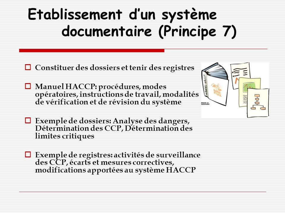 Etablissement dun système documentaire (Principe 7) Constituer des dossiers et tenir des registres Manuel HACCP: procédures, modes opératoires, instru