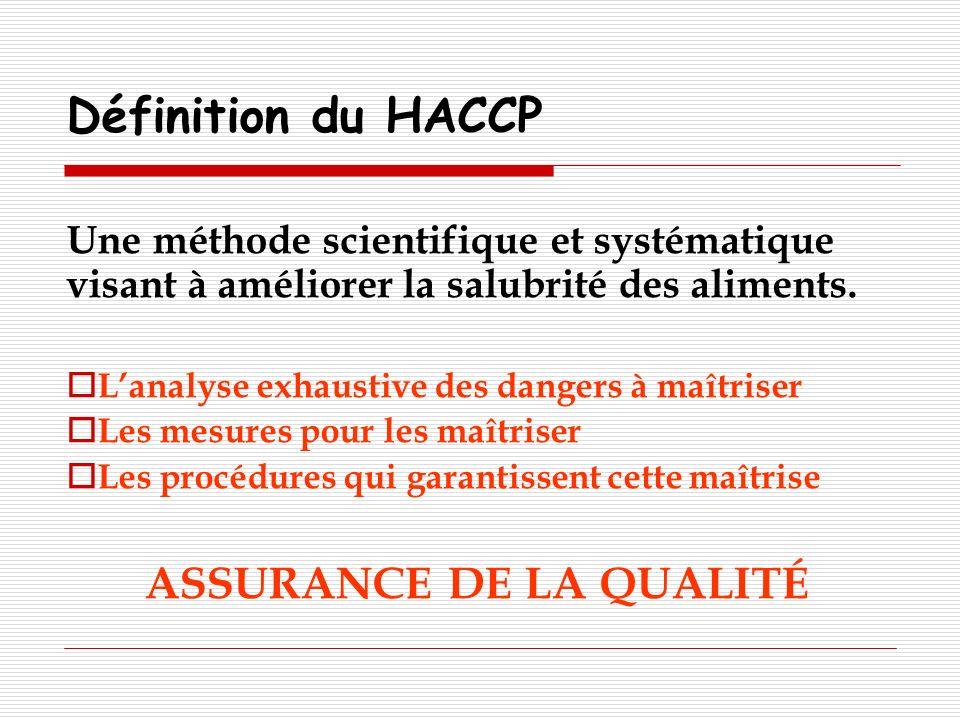 Définition du HACCP Une méthode scientifique et systématique visant à améliorer la salubrité des aliments. Lanalyse exhaustive des dangers à maîtriser