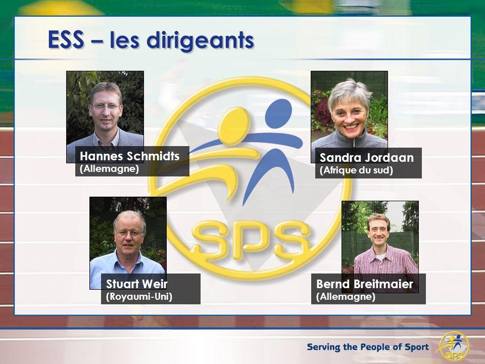ESS – les dirigeants Hannes Schmidts (Allemagne) Stuart Weir (Royaumi-Uni) Bernd Breitmaier (Allemagne) Sandra Jordaan (Afrique du sud)