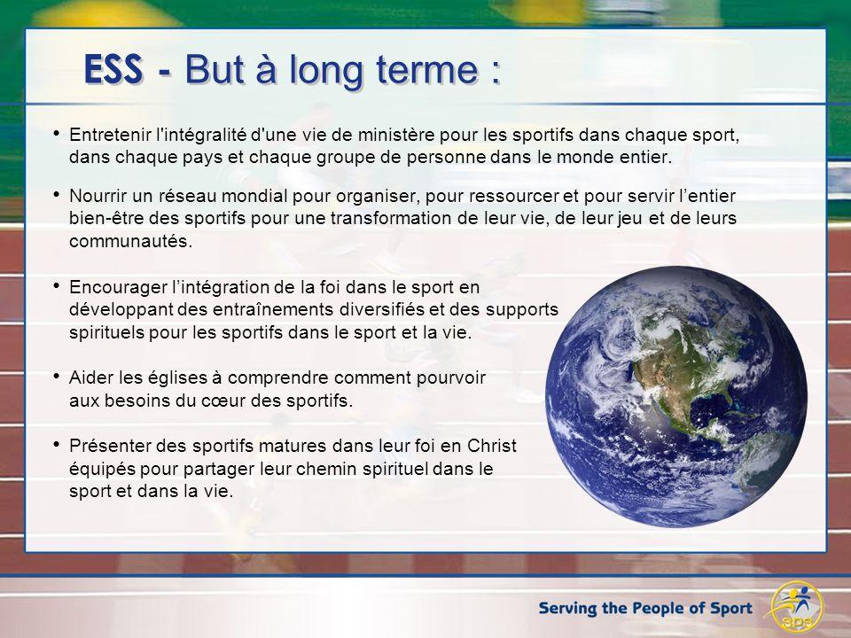 ESS - But à long terme : Entretenir l intégralité d une vie de ministère pour les sportifs dans chaque sport, dans chaque pays et chaque groupe de personne dans le monde entier.