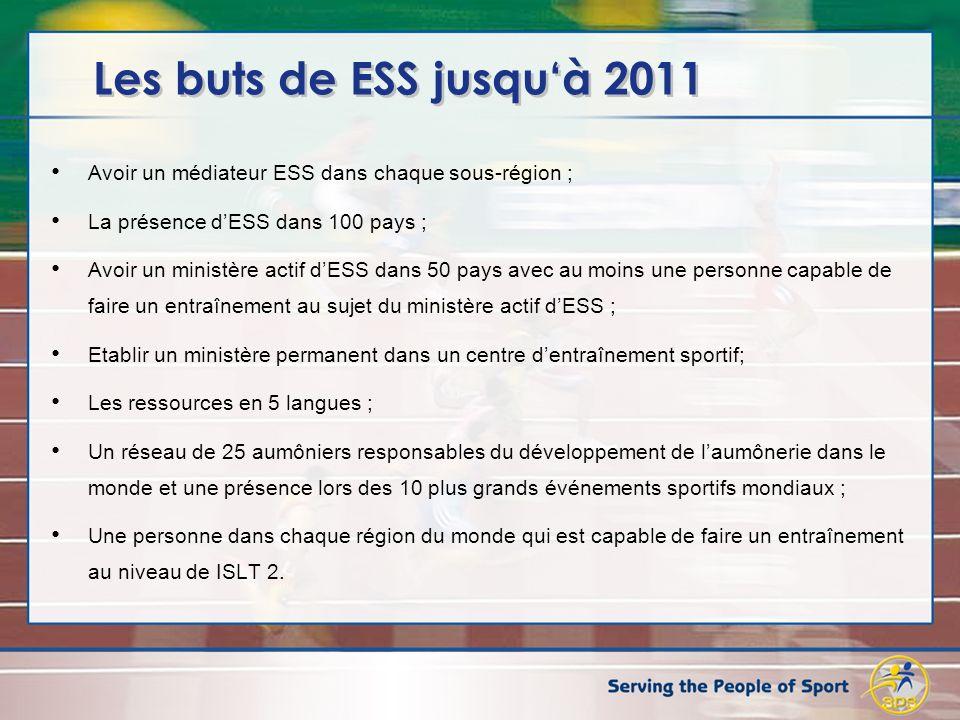 Les buts de ESS jusquà 2011 Avoir un médiateur ESS dans chaque sous-région ; La présence dESS dans 100 pays ; Avoir un ministère actif dESS dans 50 pa