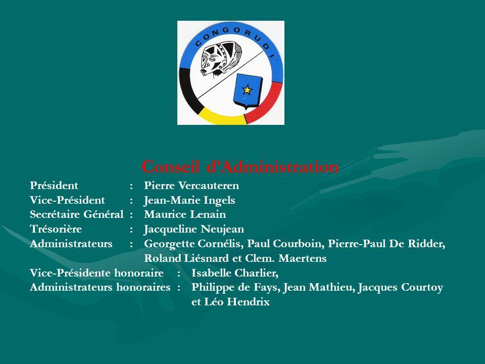 Conseil dAdministration Président :Pierre Vercauteren Vice-Président :Jean-Marie Ingels Secrétaire Général :Maurice Lenain Trésorière : Jacqueline Neu