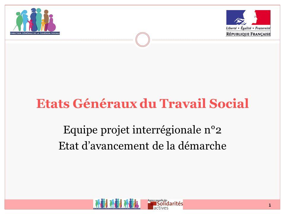 1 Etats Généraux du Travail Social Equipe projet interrégionale n°2 Etat davancement de la démarche