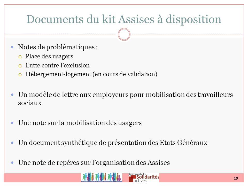 10 Documents du kit Assises à disposition Notes de problématiques : Place des usagers Lutte contre lexclusion Hébergement-logement (en cours de valida