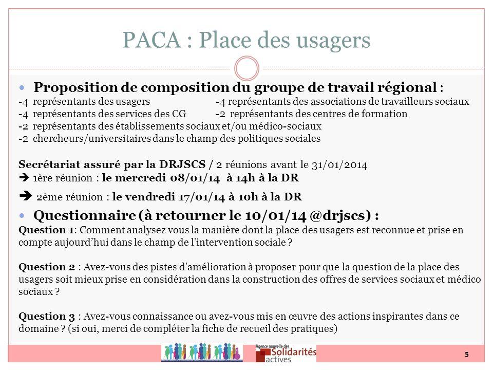 5 PACA : Place des usagers Proposition de composition du groupe de travail régional : -4 représentants des usagers -4 représentants des associations d