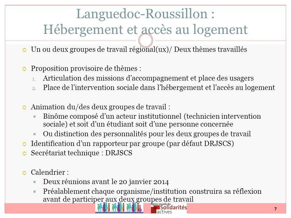 7 Un ou deux groupes de travail régional(ux)/ Deux thèmes travaillés Proposition provisoire de thèmes : 1. Articulation des missions daccompagnement e