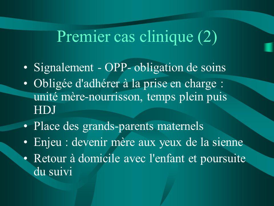 Premier cas clinique (2) Signalement - OPP- obligation de soins Obligée d'adhérer à la prise en charge : unité mère-nourrisson, temps plein puis HDJ P