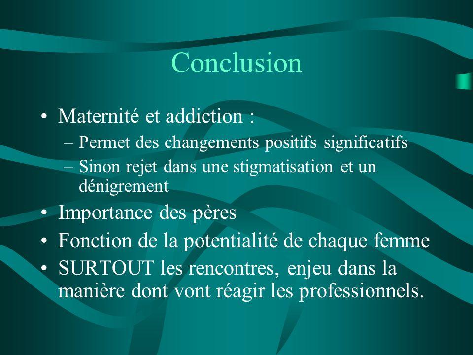 Conclusion Maternité et addiction : –Permet des changements positifs significatifs –Sinon rejet dans une stigmatisation et un dénigrement Importance d