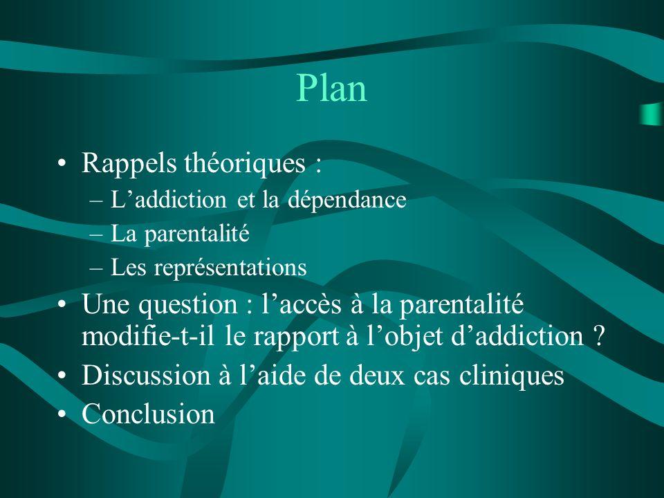 Plan Rappels théoriques : –Laddiction et la dépendance –La parentalité –Les représentations Une question : laccès à la parentalité modifie-t-il le rap