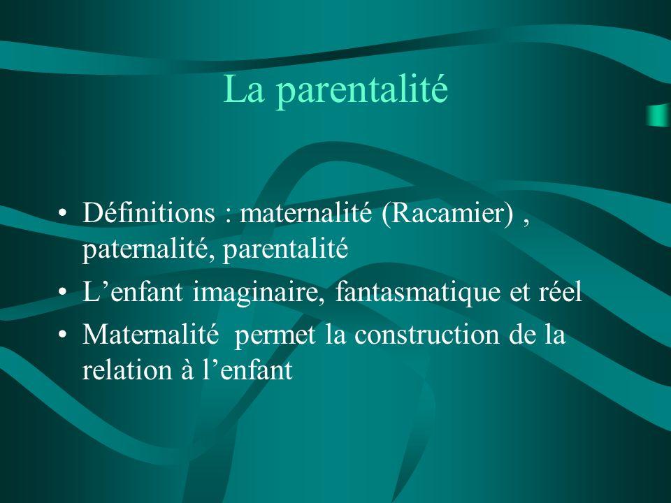 La parentalité Définitions : maternalité (Racamier), paternalité, parentalité Lenfant imaginaire, fantasmatique et réel Maternalité permet la construc