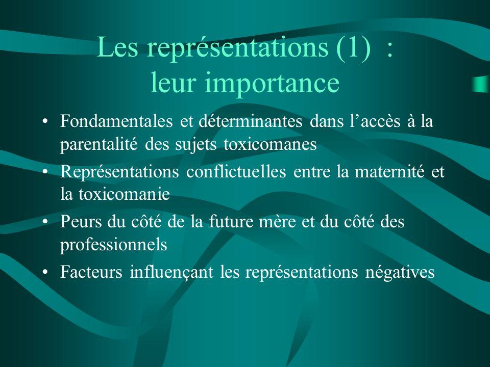 Les représentations (1) : leur importance Fondamentales et déterminantes dans laccès à la parentalité des sujets toxicomanes Représentations conflictu