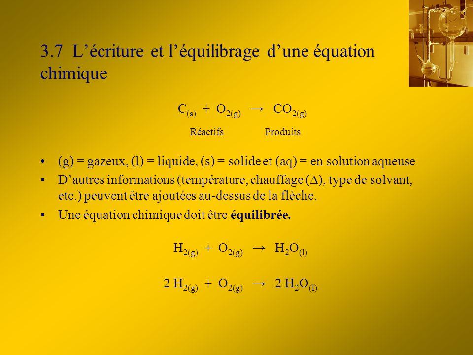 3.7 Lécriture et léquilibrage dune équation chimique Réactifs C (s) + O 2(g) CO 2(g) Produits (g) = gazeux, (l) = liquide, (s) = solide et (aq) = en solution aqueuse Dautres informations (température, chauffage ( ), type de solvant, etc.) peuvent être ajoutées au-dessus de la flèche.