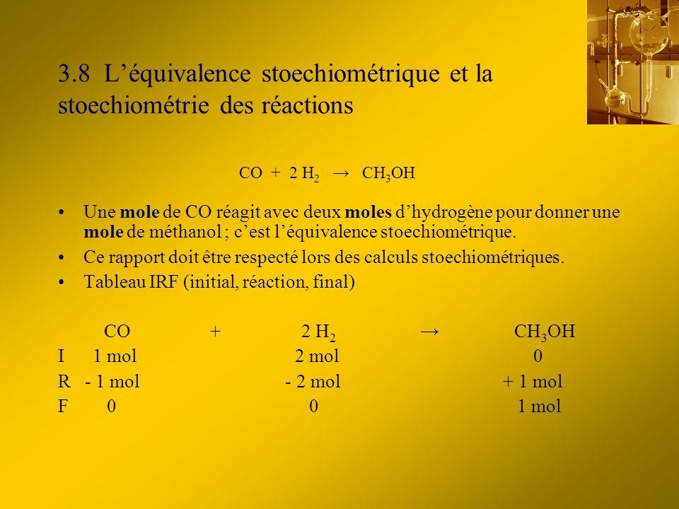 3.8 Léquivalence stoechiométrique et la stoechiométrie des réactions Une mole de CO réagit avec deux moles dhydrogène pour donner une mole de méthanol ; cest léquivalence stoechiométrique.