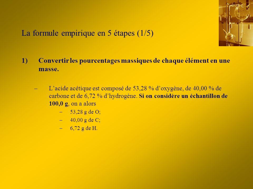 La formule empirique en 5 étapes (1/5) 1)Convertir les pourcentages massiques de chaque élément en une masse. –Lacide acétique est composé de 53,28 %