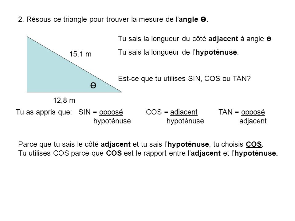 2. Résous ce triangle pour trouver la mesure de langle ө. 12,8 m 15,1 m ө Tu sais la longueur du côté adjacent à angle ө Tu sais la longueur de lhypot