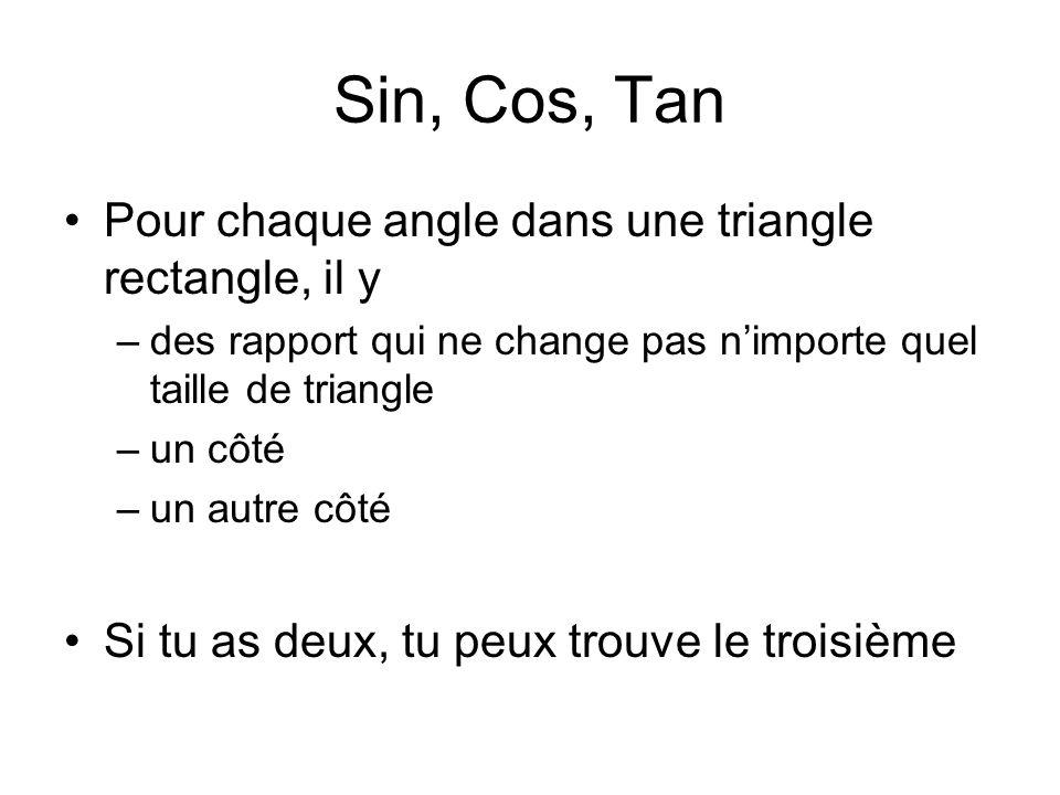 Sin, Cos, Tan Pour chaque angle dans une triangle rectangle, il y –des rapport qui ne change pas nimporte quel taille de triangle –un côté –un autre côté Si tu as deux, tu peux trouve le troisième