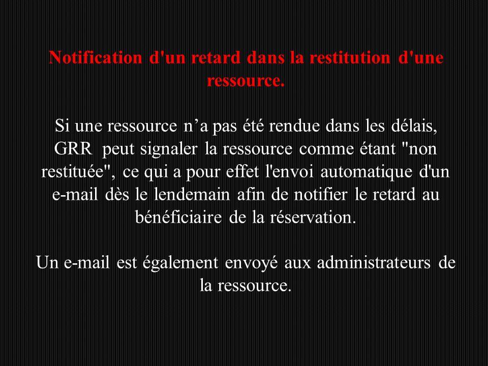 Notification d un retard dans la restitution d une ressource.