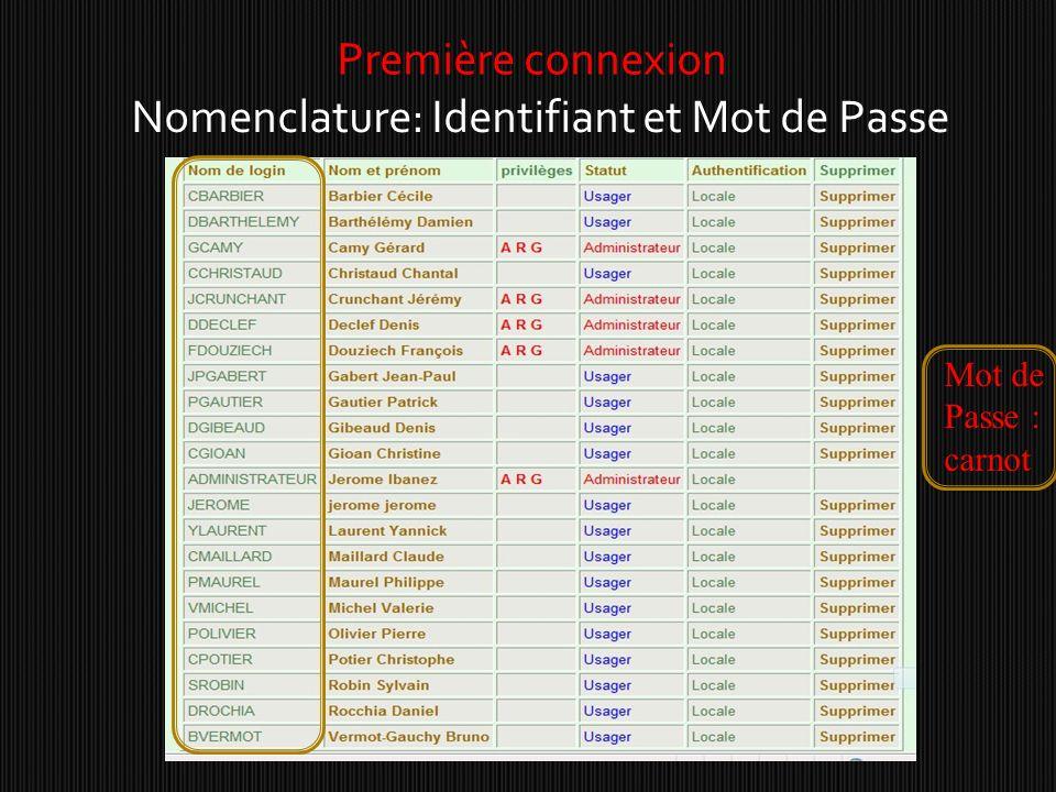 Première connexion Nomenclature: Identifiant et Mot de Passe Mot de Passe : carnot