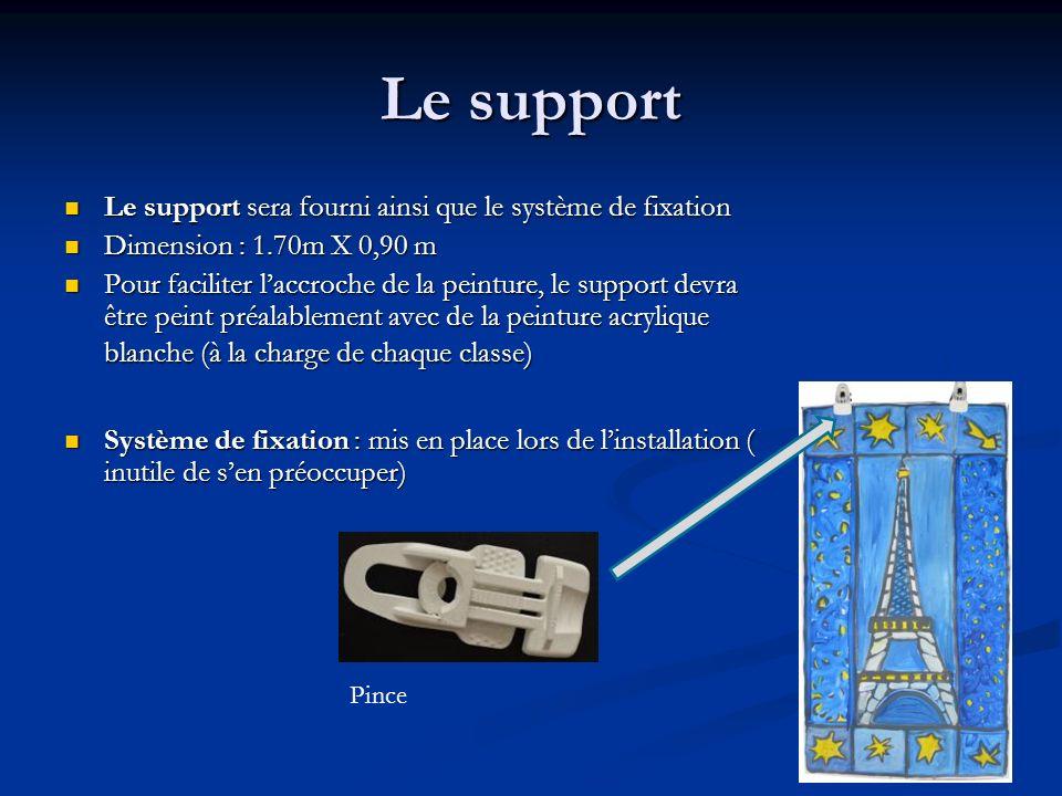 Le support Le support sera fourni ainsi que le système de fixation Le support sera fourni ainsi que le système de fixation Dimension : 1.70m X 0,90 m