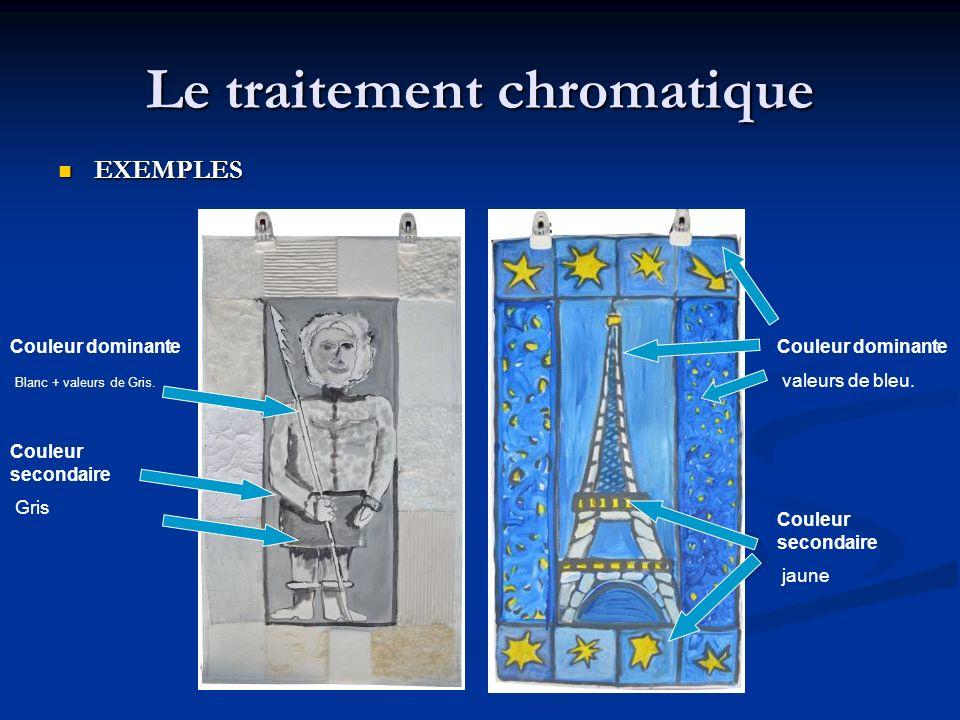 Le traitement chromatique EXEMPLES EXEMPLES Couleur dominante valeurs de bleu. Couleur secondaire jaune Couleur dominante Blanc + valeurs de Gris. Cou