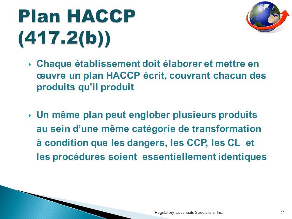 Chaque établissement doit élaborer et mettre en œuvre un plan HACCP écrit, couvrant chacun des produits quil produit Un même plan peut englober plusieurs produits au sein dune même catégorie de transformation à condition que les dangers, les CCP, les CL et les procédures soient essentiellement identiques Regulatory Essentials Specialists, Inc.11