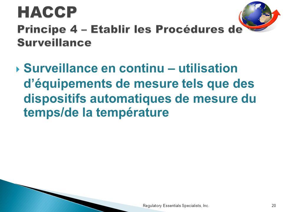 Surveillance en continu – utilisation déquipements de mesure tels que des dispositifs automatiques de mesure du temps/de la température Regulatory Essentials Specialists, Inc.20