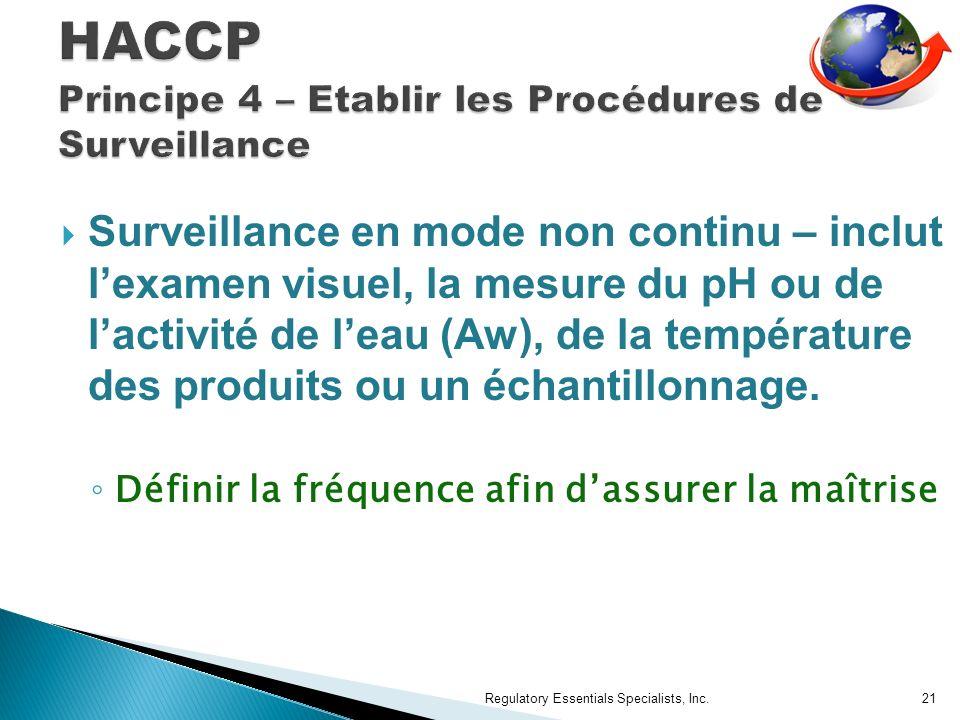 Surveillance en mode non continu – inclut lexamen visuel, la mesure du pH ou de lactivité de leau (Aw), de la température des produits ou un échantillonnage.