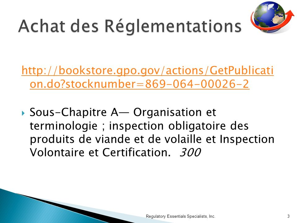 http://bookstore.gpo.gov/actions/GetPublicati on.do?stocknumber=869-064-00026-2 Sous-Chapitre A Organisation et terminologie ; inspection obligatoire