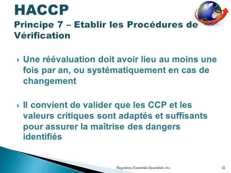 Une réévaluation doit avoir lieu au moins une fois par an, ou systématiquement en cas de changement Il convient de valider que les CCP et les valeurs critiques sont adaptés et suffisants pour assurer la maîtrise des dangers identifiés Regulatory Essentials Specialists, Inc.32
