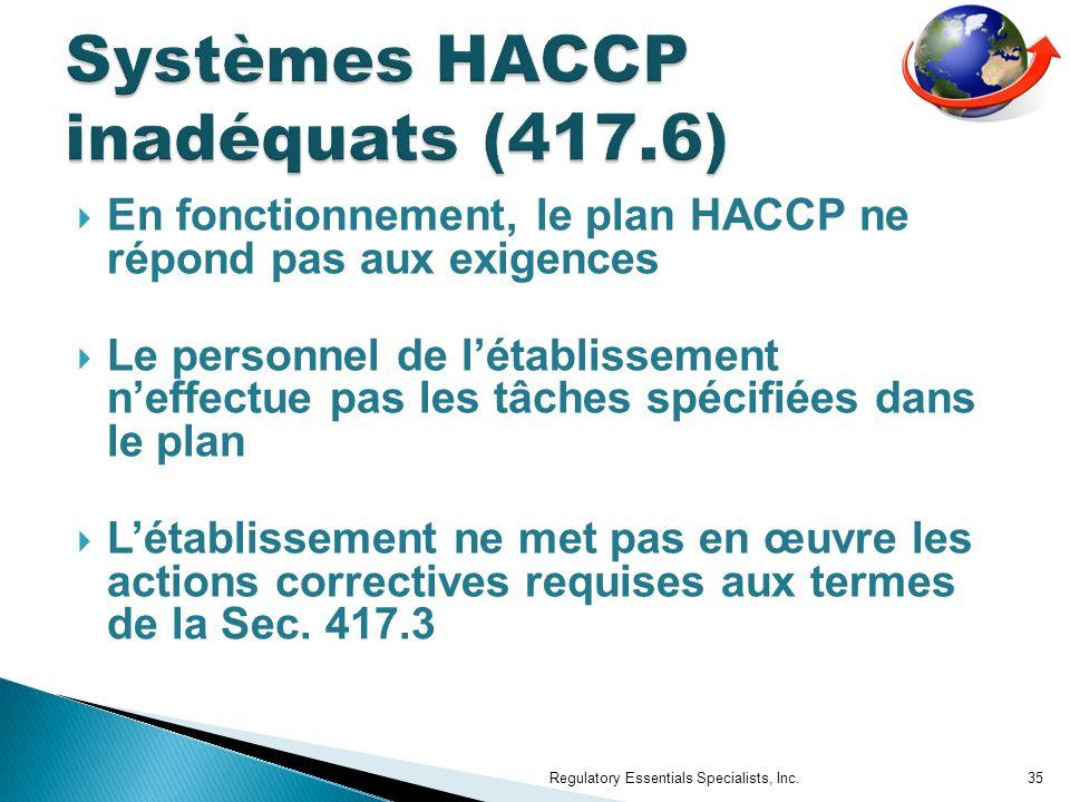 En fonctionnement, le plan HACCP ne répond pas aux exigences Le personnel de létablissement neffectue pas les tâches spécifiées dans le plan Létablissement ne met pas en œuvre les actions correctives requises aux termes de la Sec.